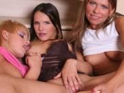 Three lesbians' the charm